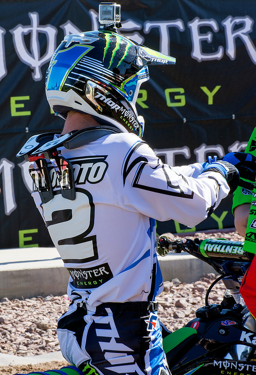 Villopoto Champion Supercross rider practices before 2013 Monster Energy Cup