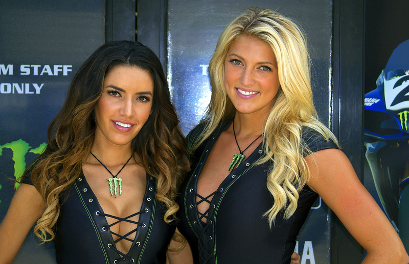 Bradi and Mercedes at Graves Yamaha Monster Energy Drink Trailer