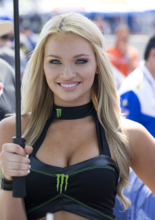 On Grid at Barber with Graves Monster Energy Umbrella Girl