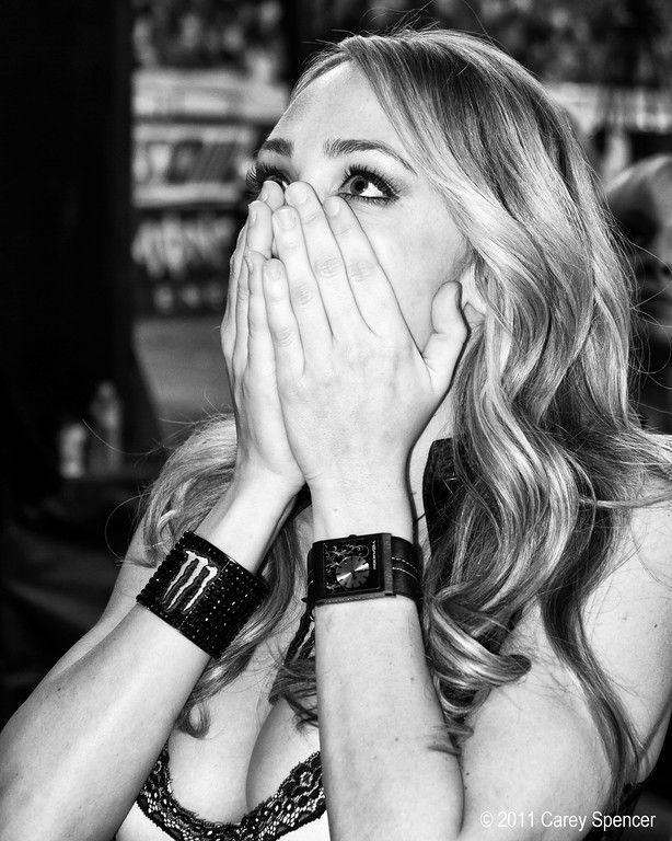 Moster Energy Girl Reacts to Last Lap Collision Between James Stewart and Chad Reed in Atlanta.
