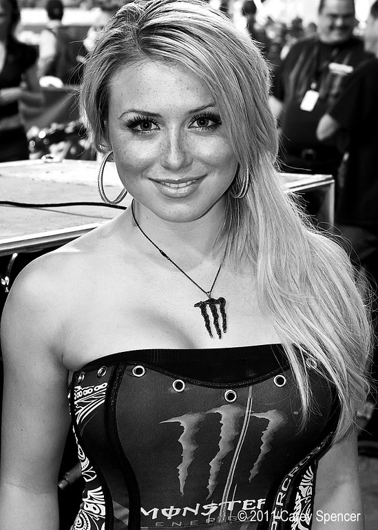 Beautiful Monster Energy Girl taking a short break before the main events.