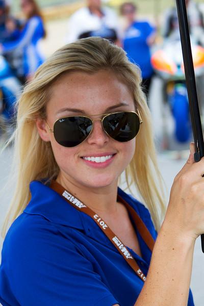 Lovely Blonde in Blue Umbrella Girl AMA Pro Racing Mid Ohio