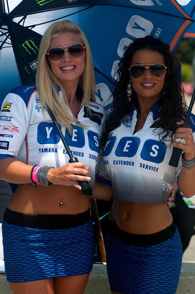Yes umbrella girls Graves Motorsports AMA Yamaha Racing