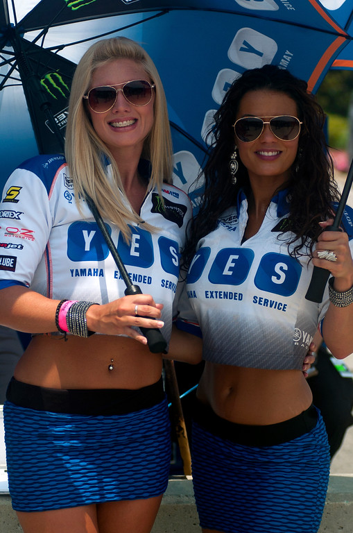 Yes umbrella girls Graves Motorsports AMA Yamaha Racing