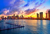 Miami downtown skyline sunset Florida US