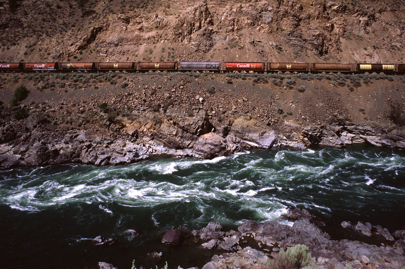 Canadian National Railway in steep canyon