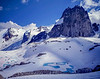 Rock spires in a snow covered glacier in Bugaboo Provincial Park