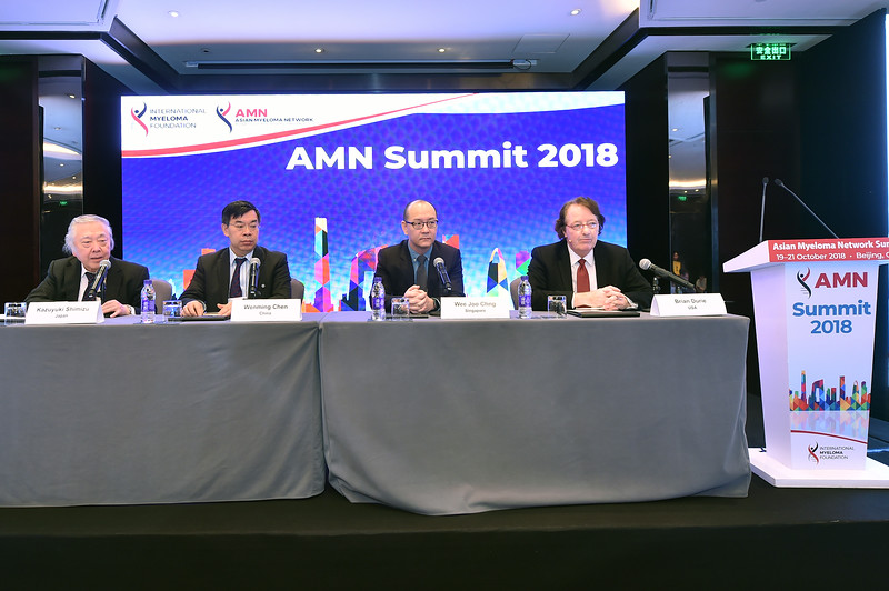 Kazuyuki Shimizu (Japan), Wenming Chen (China), Wee Joo Chng (Singapore), and Brian G.M. Durie (U.S.) take a question from the audience at the 2nd Annual AMN Summit convened by the IMF in Beijing.