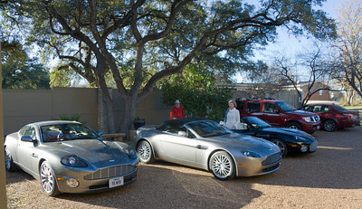 Some of the cars parked in back by the Lake House.