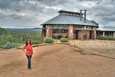 Jan outside the restaurant at Canyon of the Eagles
