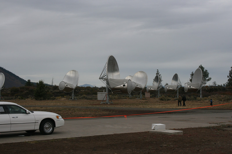 One cluster of the 42 antennas at the Allen Telescope at Hat's Creek