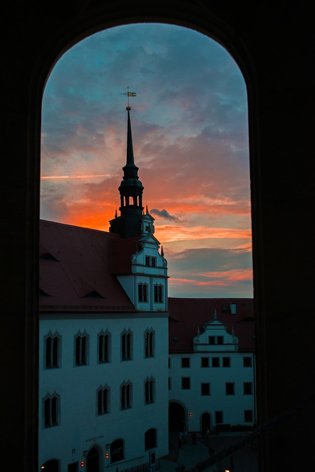 Hartenfels Castle at dusk, Torgau, Germany.