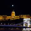 Buda Castle with the Chain Bridge in the foreground. (10:41pm)