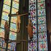 Suspended crucifix.