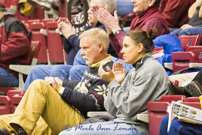 Stephanie's parents at the Gonzaga game. Steph hit 3 three balls and was player of the game. A proud moment.