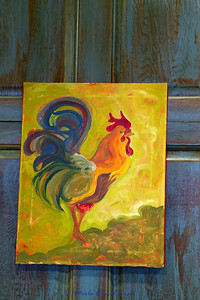 This was a painting at the restaurant where the team ate, Roosters.