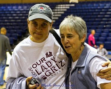 Fans and team member's relatives - Mila Stender, left and Linda Loman, right