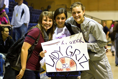 Megan, Erika, and Jessa. # 30 is Erika's sister, Steph. Megan was on the Griz Dance Team, graduated and works in the Greeley area. She came to cheer on the Lady Griz. Jessa is #20 on the team.