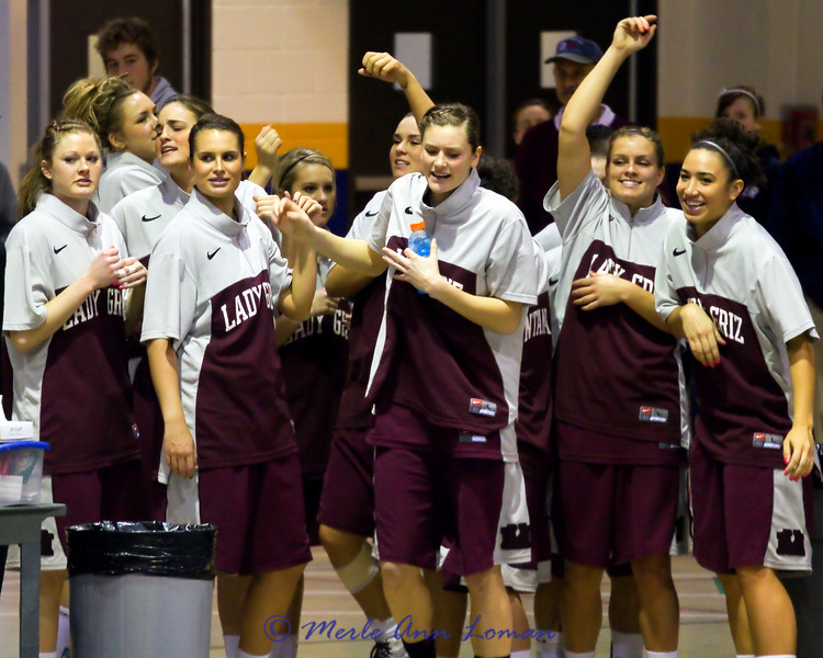 Lady Griz coming out of the locker room in Greeley before the game.