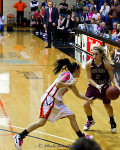 Torry broke to our right, pulled up and reversed direction to create room for a three pointer. She drained it. This tied the game at 60-60. Griz won by three points, 2 freethrows by Kenzie and 1 by Steph.