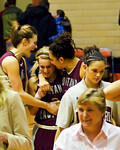 Torry Hill was high scorer and her three ball won the game. Jessa and Sarah are congratulating her.