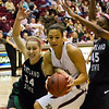 Sarah Ena fighting for the ball.