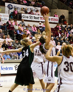 Katie Baker trying for a rebound.
