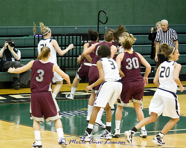 Sarah Ena has the ball near the edge of the court. Again, Northern Colorado played very tough defense.