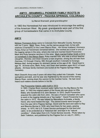 Amyx-Bramwell: Written History