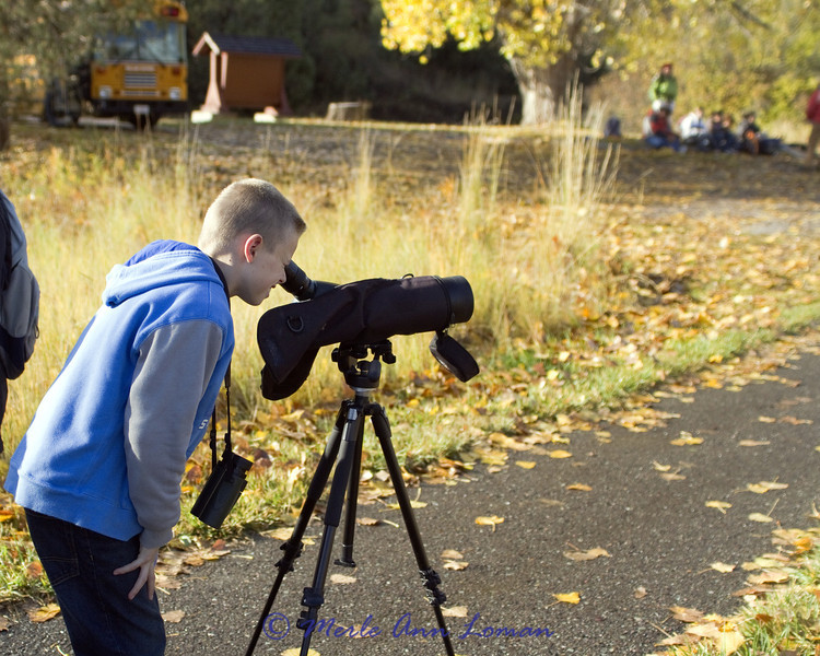 Each child got to see the hawk through the scope.