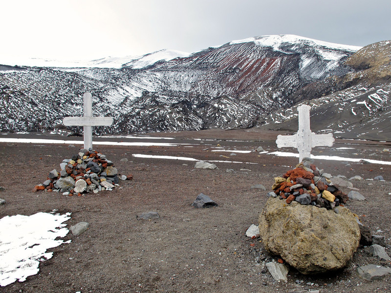 45 men were buried in the station's cemetery, but the cemetery was buried in a 1969 eruption, and the only remaining signs are the rusting boilers and tanks.