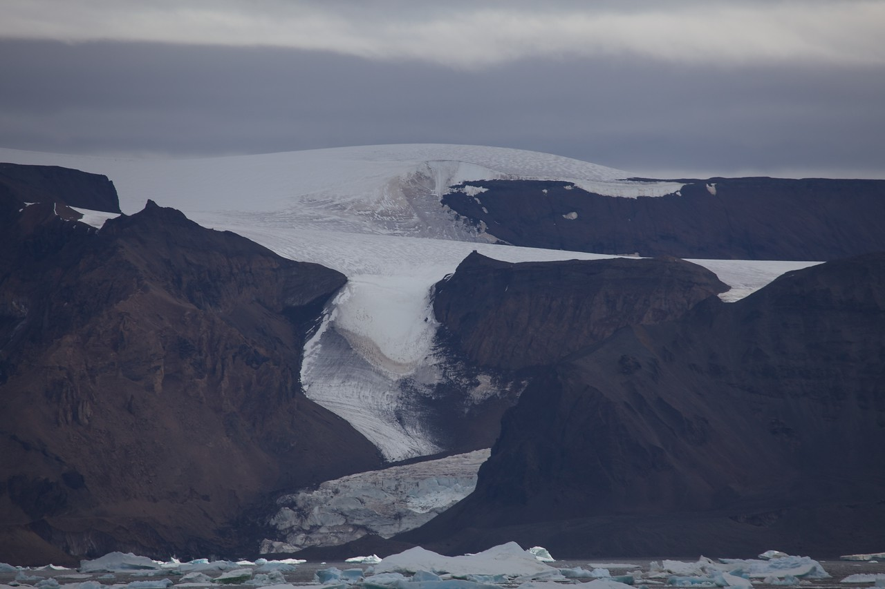 These glaciers on the side of Devil's Island are thousands of years old.