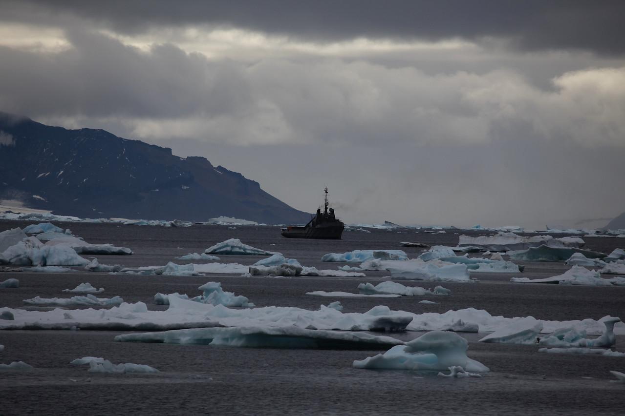 An Argentine naval vessel patrols near the coast of Devil's Island.