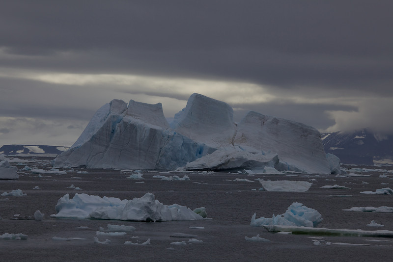 Many of the icebergs look like familiar shapes.  For example, this one looks like a sinking ocean liner.