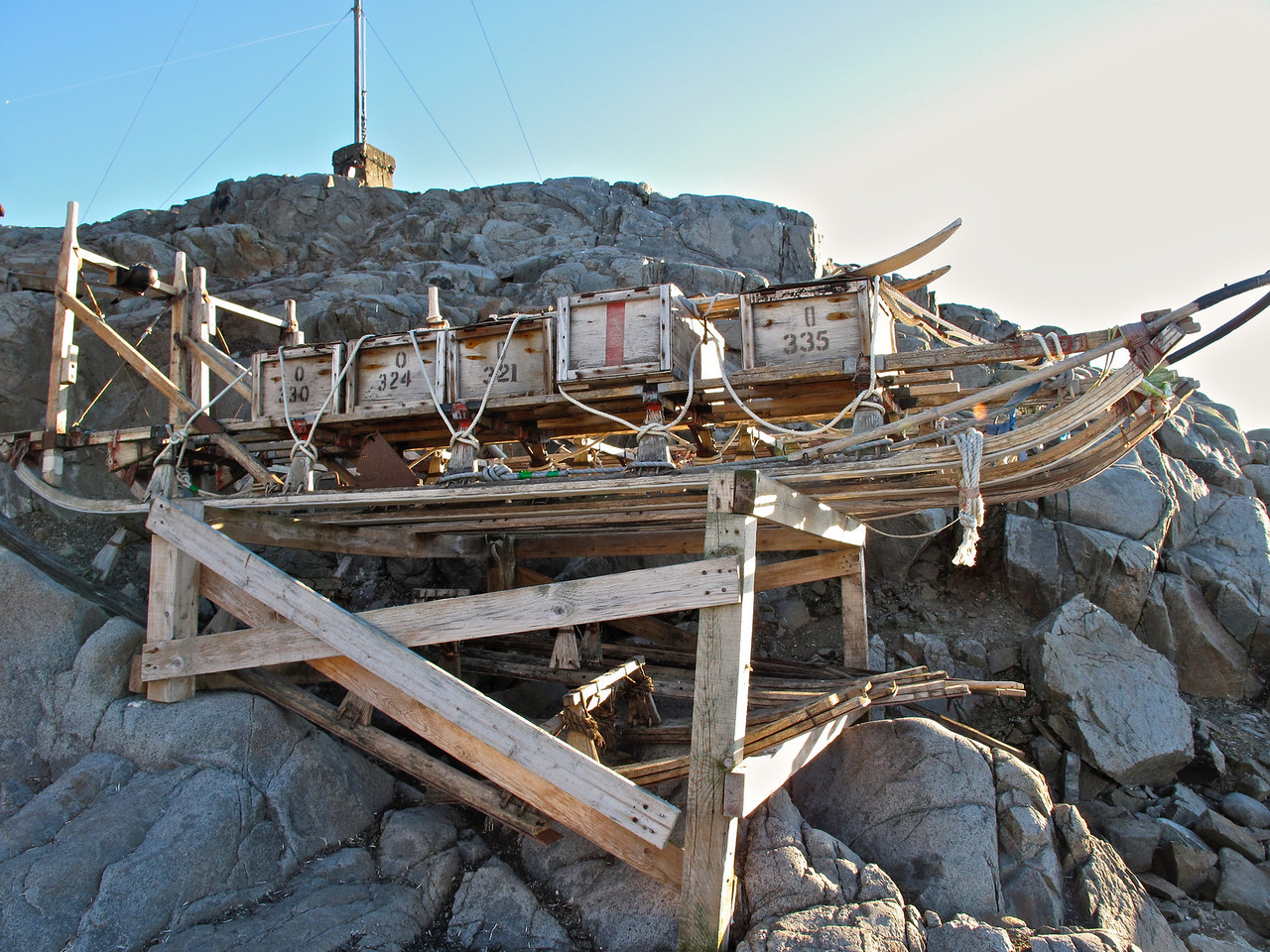 This is a preserved dog sled that was used to transport materials around the base area.