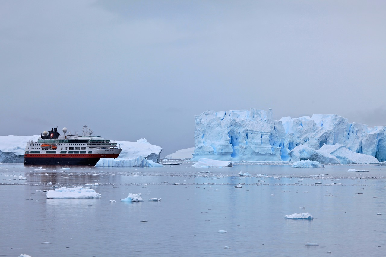 This large private yacht gives you an idea of scale of the ice and glaciers at Neko.