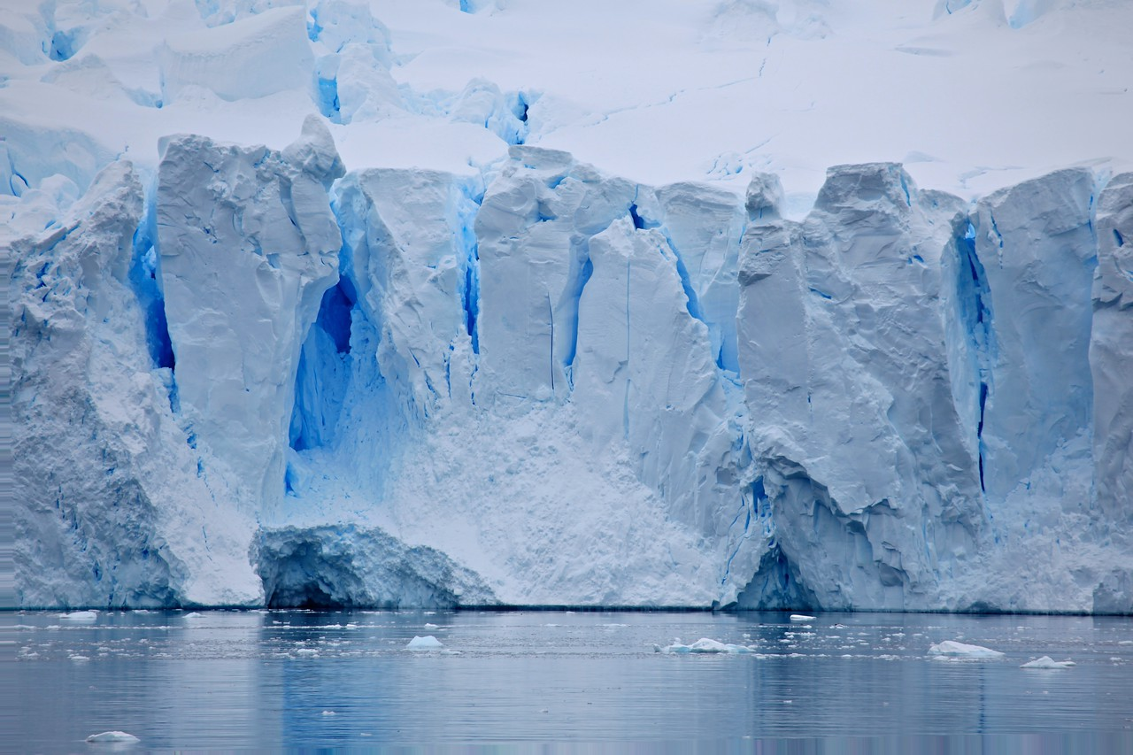 There are many glaciers that are on Neko  The colors change minute by minute, based upon the sunlight and clouds.