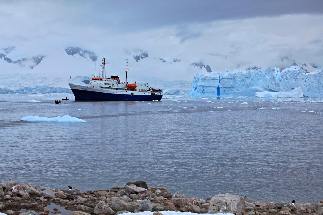 Our boat launches another group in a zodiac.  Another great sense of scale.
