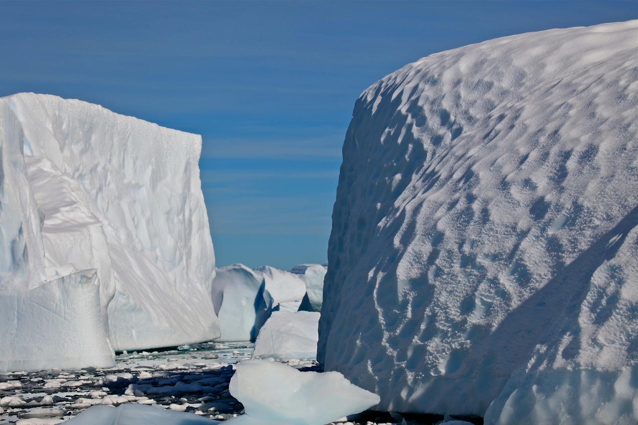 As you float by the icebergs, no two are even close to alike.  The different effects of sun, wind and water erosion make for some very interesting shapes in the ice.