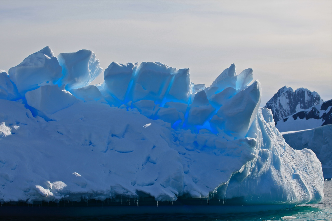 As the sun changes throughout so does the color of the icebergs.  This one almost seems to glow with the light behind it.
