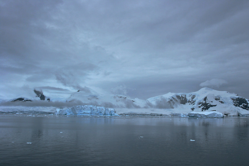 A small iceberg in front of the Antarctic peninsula.
