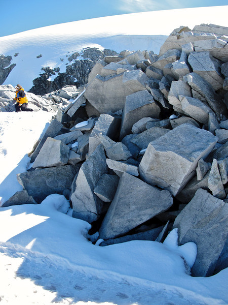 Because of the dry, arid desert climate of Antarctica, these granite boulders crack into many smaller pieces.