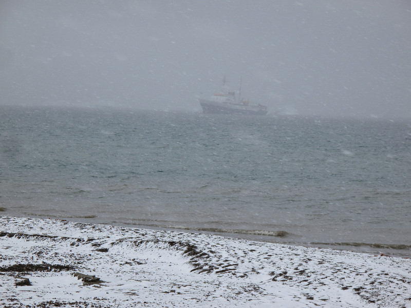 All of a sudden, our ship is hard to see from all the blowing snow.