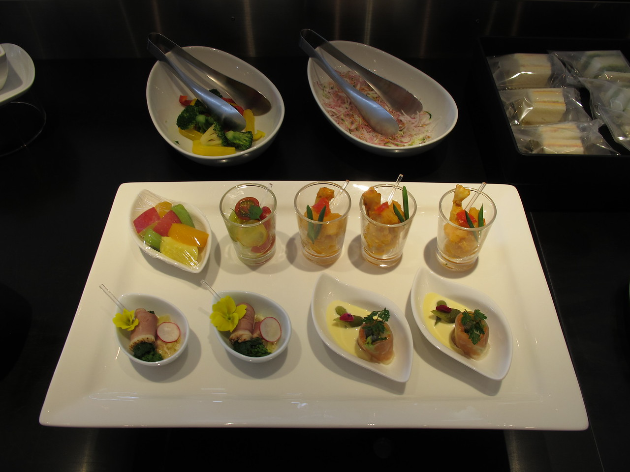 Selection of appetizers and amuse-bouches, ANA Suite Lounge, NRT/RJAA.