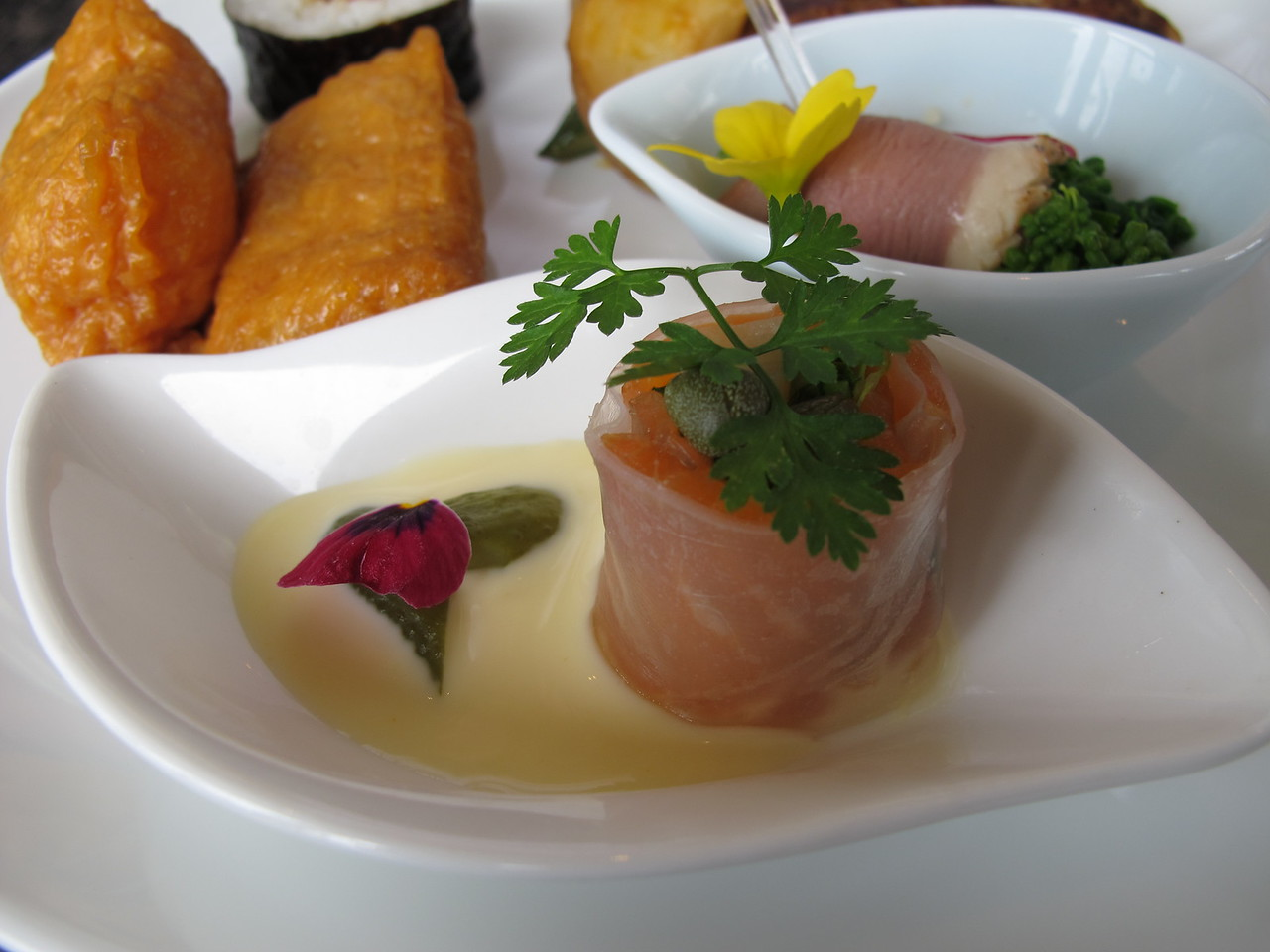 Roasted asparagus wrapped in smoked salmon and rice paper amuse-bouche. ANA Suite Lounge, NRT/RJAA.