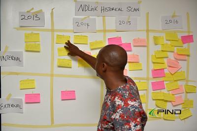 Facilitator John Onyeukwu analyzing the NDLink historical scan exercise