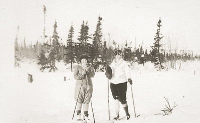 Agnes Sedy LeCoump and Friend skiing