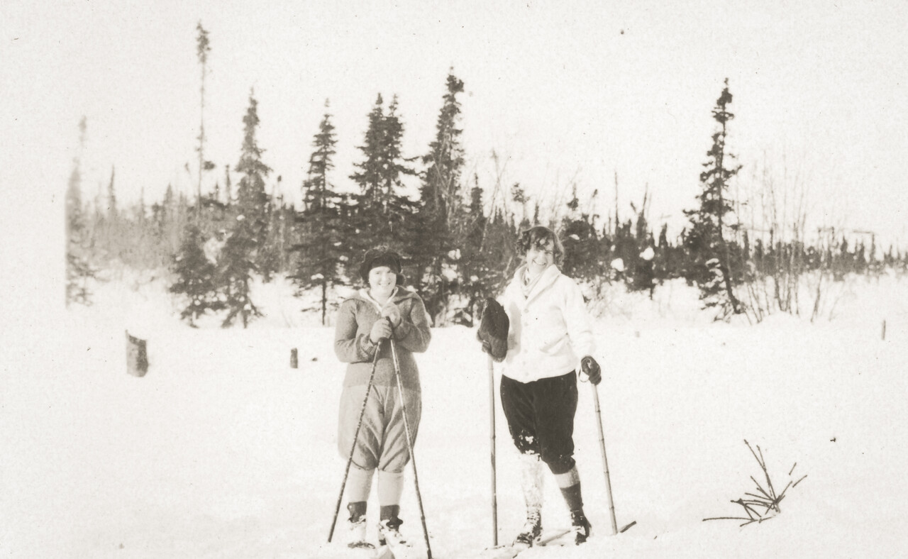 Agnes Sedy LeCoump and Friend skiing