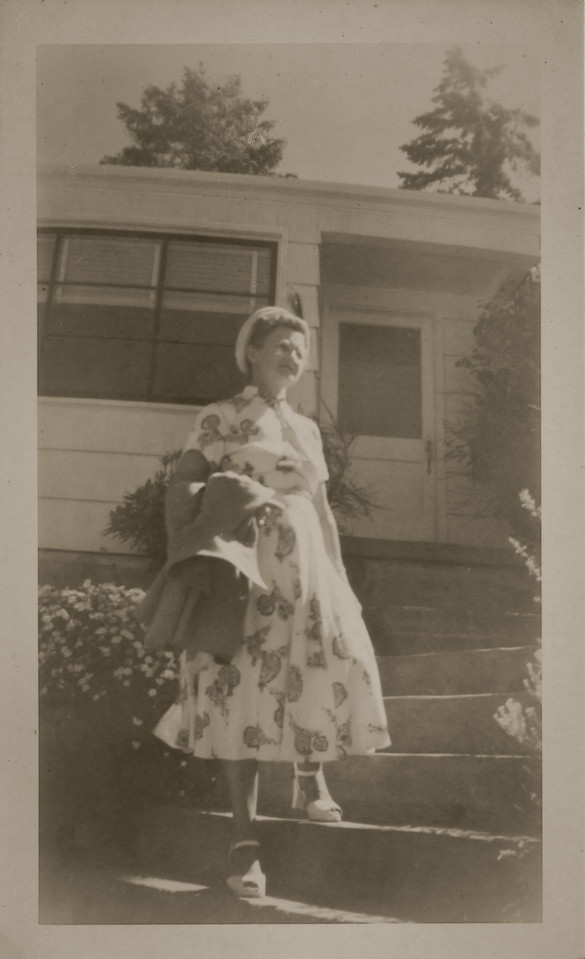 Agnes Sedy LeCoump in front of her house in Seattle