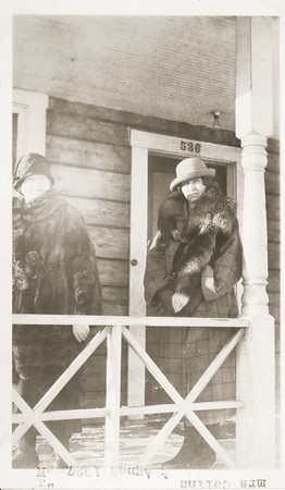 Agnes Sedy LeCoump  and Mrs. Collins, her neighbor in front of her house in Ancourage Alaska